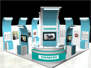Siemens stall 300x225 Setting up an Intelligent exhibition Stall Design
